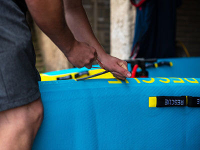 inserting RSS Stiffening battens to inflatable rescue board
