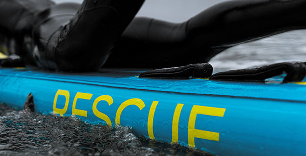 branded rescue logo on board rails